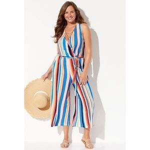 Swimsuits For All Striped Racerback Jumpsuit NWT